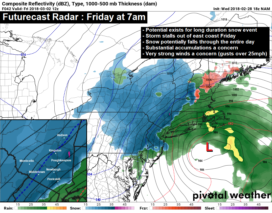 Preliminary Storm Forecast : Friday 3/2/18 – Hudson Valley Weather