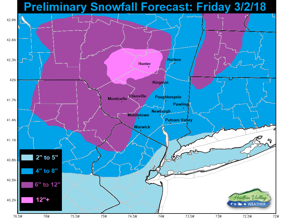 Traditional Weather Map.Preliminary Storm Forecast Friday 3 2 18 Hudson Valley Weather